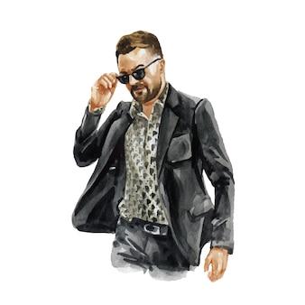 スタイリッシュな流行の服の若い男のファッション水彩イラスト。男性の流行に敏感な表情の手描きのスケッチ。アーバンストリートスタイル。