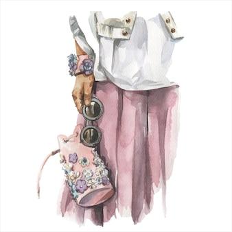 スタイリッシュな流行の服の若い女性のファッション水彩イラスト。女性の流行に敏感な表情の手描きのスケッチ。アーバンストリートスタイル。