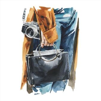 세련 된 최신 유행 옷에 젊은 여자의 패션 수채화 그림. 여성 hipster 모습의 손으로 그린 된 스케치입니다. 도시 거리 스타일.