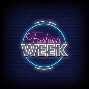 Fashion week neon signs style text