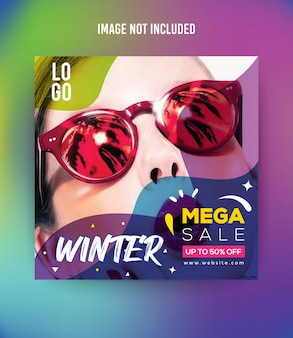 Fashion winter social media post template premium