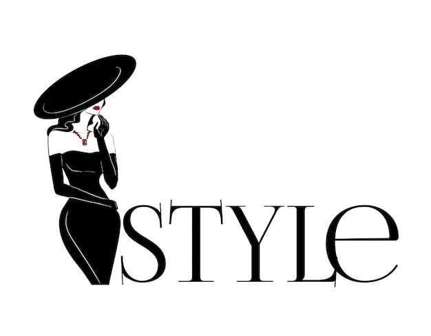 Fashion woman in big hat and diamonds logo
