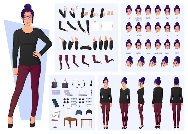 Fashion woman character design set, front, side, back view, poses, and gestures flat design