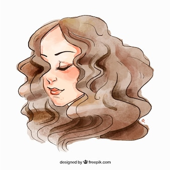 Fashion woman face with curly hair