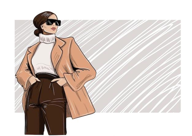 ブレザーとタートルネックのイラストのファッションの女性