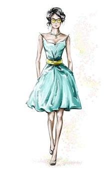 드레스에서 패션 여자입니다.
