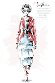 Женщина моды в платье.
