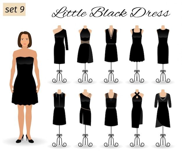 Мода женщина в маленькое черное платье. набор коктейльных платьев на манекенах.