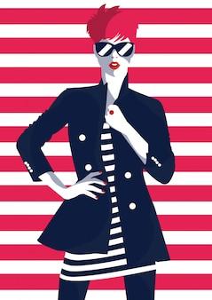 スタイルのポップアートのファッションの女性。ファッションアート