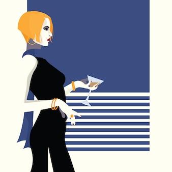 スタイルのポップアートのファッションの女性。図