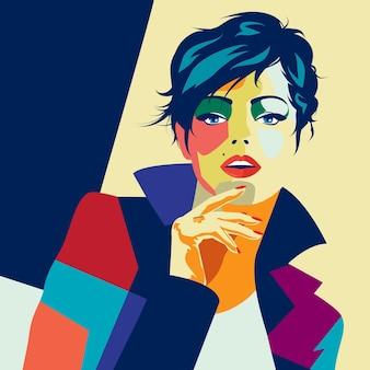 스타일 팝 아트에서 패션 여자입니다. 삽화