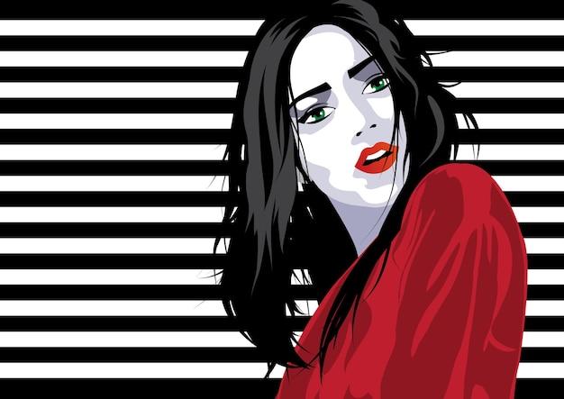 ポップアート スタイルのファッションの女性。図