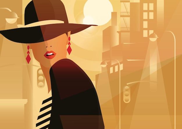 큰 도시에서 스타일 팝 아트에서 패션 여자.