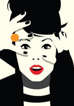 スタイルのポップアートのファッションの女性。ベクトルイラスト
