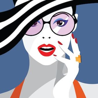 スタイルのポップアートのファッションの女性。
