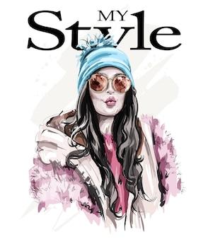 Женщина моды в зимней одежде