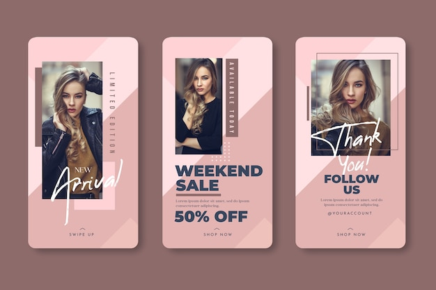 Fashion woman instagram stories template sales