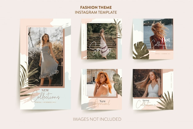 Fashion woman instagram stories template with tropical leaves