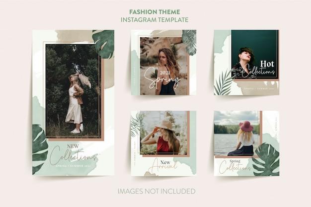 Шаблон рассказа instagram женщины моды с тропическими листьями