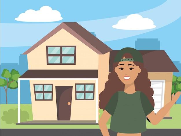 Fashion woman outside house design