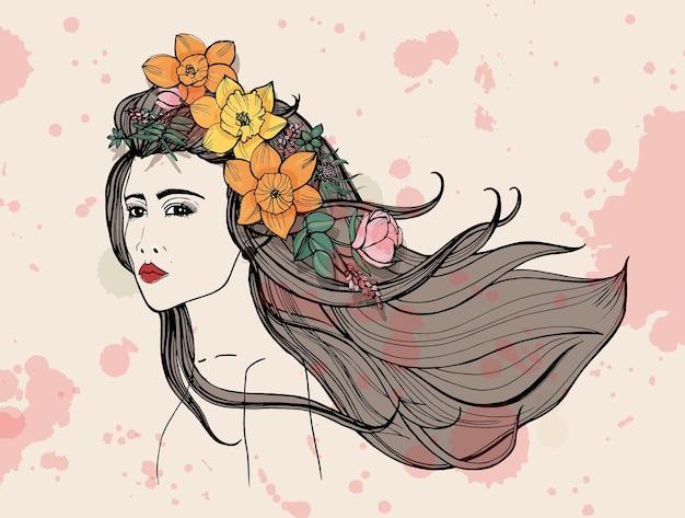 수채화 얼룩이 있는 패션 여성 초상화. 꽃, 흐르는 머리를 가진 아름 다운 소녀입니다. 다채로운 손으로 그린 그림.