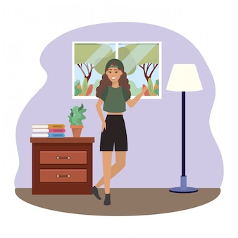 Fashion woman in room design