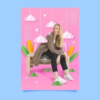Fashion woman sitting on a bench poster template