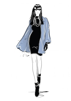 Fashion woman in sketch style with black cat.