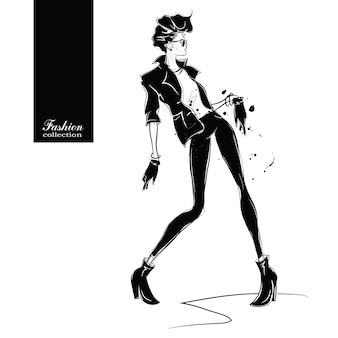 Fashion woman in sketch style.
