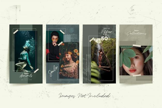 抽象的な水彩画の背景を持つファッション女性ソーシャルメディアテンプレート
