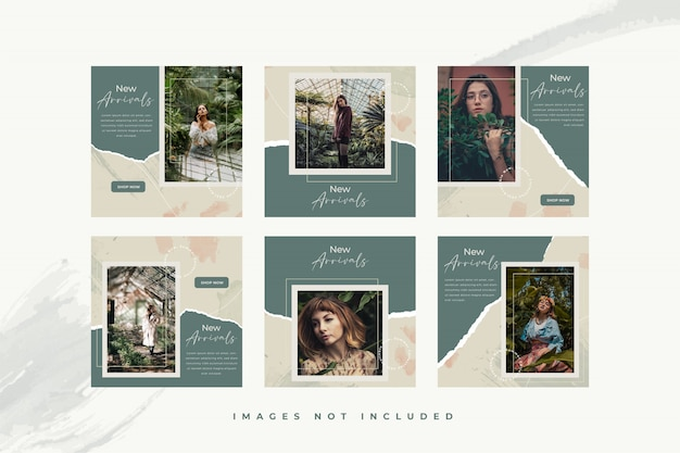 Fashion woman social media template with abstract watercolor and torn paper