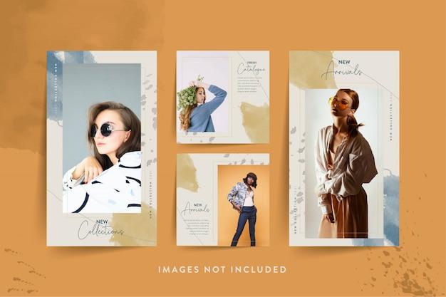Мода женщина шаблон социальных медиа с абстрактной акварелью