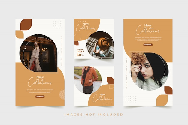Fashion woman social media template with colorful background