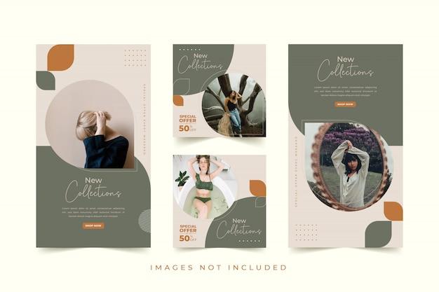 カラフルな背景を持つファッション女性ソーシャルメディアテンプレート