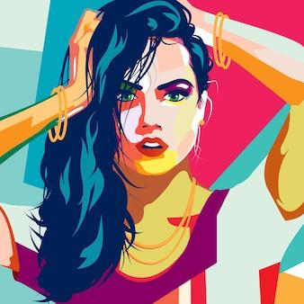 Fashion woman in style pop art.   illustration