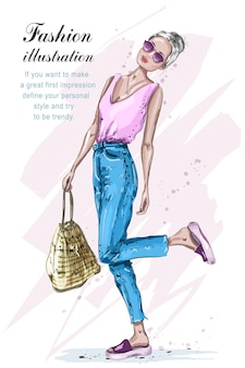 バッグのイラストとファッションの女性