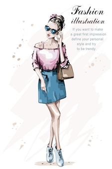 バッグとファッションの女性