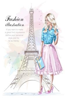 Женщина моды с эйфелевой башней