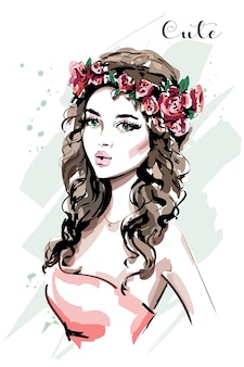 Fashion woman with flower wreath portrait