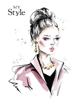 髪のお団子のイラストとファッションの女性
