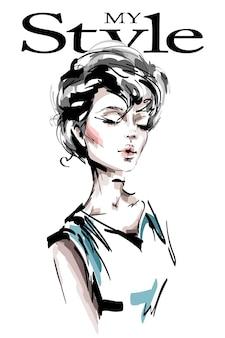 짧은 머리를 가진 패션 여자.