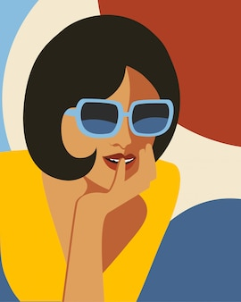 Fashion woman with sunglasses . art portait.  flat design.