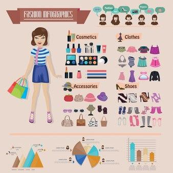 Fashion women infographic set