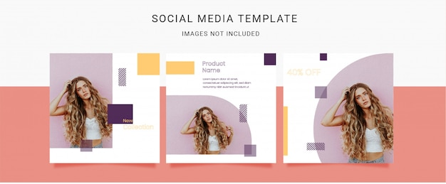 Fashion Women With Geometric Shape Elements Social Media Template Premium Vector