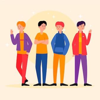 ファッションの若いk-pop男の子グループ