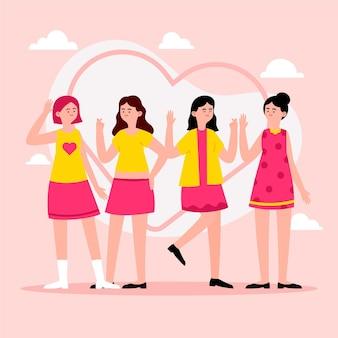 ファッションの若いkポップの女の子グループイラスト