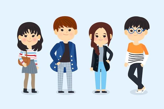 イラストの若い韓国人