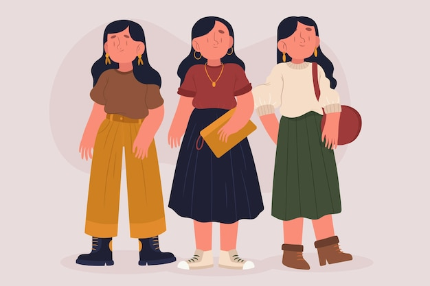 ファッション若い韓国人イラスト