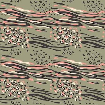 ファッショナブルな抽象的なシームレスパターン。ファッション、プリント、壁紙、ファブリックの定型化された斑点のあるヒョウの皮の背景。ベクトルイラスト