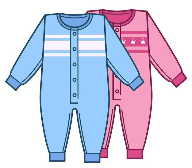 男の子と女の子のためのファッショナブルでシンプルな服。男性と女性の新生児のための隔離された衣類。ジャンプスーツとボディスーツ、ピンクとブルーの色。フラットで衣装の品揃えベクトルと一緒に保存